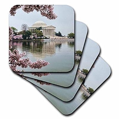 3dRose Danita Delimont - Memorials - Washington DC, Jefferson Memorial and Tidal Basin with Cherry Blossoms - Coasters