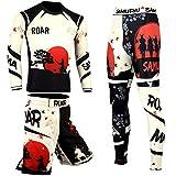 ROAR MMA Rash Guard & BJJ Grappling Shorts UFC Cross Training Gear No Gi Gym Wear (Samurai-3Pcs-Set, Small)