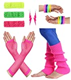 #4: JustinCostume Women's 80s Outfit accessories Neon Earrings Leg Warmers Gloves