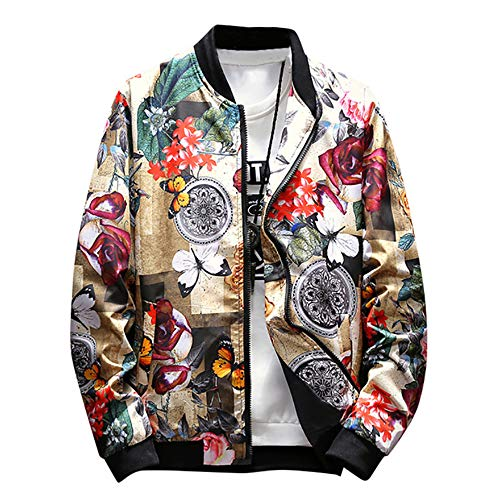 Rambling Mens Casual Retro Printed Jacket Outdoor Sportswear Windbreaker Lightweight Bomber Jackets and Coats Yellow