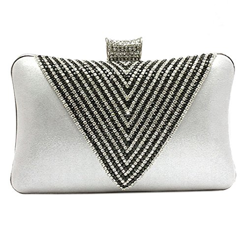 Rhinestone Shape V Clutch Bag Inlaid Purse Women Evening Silver Glossy wwvqUxdn5