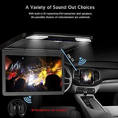 Black 13.3inch Ultra- Thin 1080P Roof Mount Overhead Flip Down Monitor for Car Caravan SUV MPV Support USB//SD HDMI Input FM/&IR Transmitter