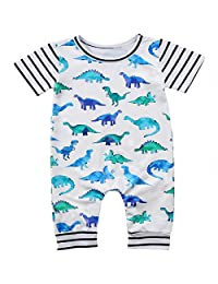4b8e3f4ca7f8 Annvivi Newborn Baby Boys Dinosaur Striped Romper Short Sleeve Bodysuit  Outfits