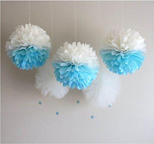 Life Glow Pom Poms Tissue Paper Flowers Wedding Decor Party Decor 12'' 14'' Set of 10 (Art Tissue Festooning)