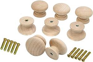 8PCS Kitchen Cabinet Knobs 35mm Dia Round Mushroom Shaped Wood Unfinished Drawer Dresser Cupboard Furniture Knobs Pulls Handles Hardware