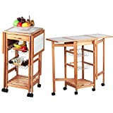 Globe House Products GHP Brown Ceramic Slate & Pine Wood Frame Portable Rolling Kitchen Trolley Cart