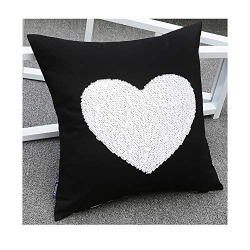 Aitliving Sequins Pillow Cover Love Heart Throw Pillow Shell 18X18 for Christmas New Year Valentine Day Festive Family Two-Tone White/Gold Flipped Sequins Reversible Shimmer Pillow Case ()