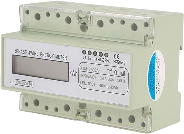 20 80 220V Phase Compteur D/énergie LCD Monophas/é Wattm/ètre DIN-Rail Kilowatt-heure M/ètre A