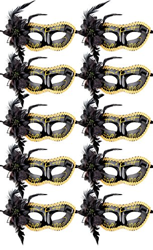 10pcs Set Mardi Gras Half Masquerades Venetian Masks Costumes Party Accessory (Mardi Gras Couples Costumes)
