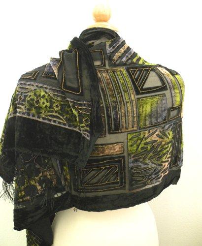 Soft Velvet Burnout Scarf,Italy Fashion Silk Burnout Velvet Scarf w/ Elegant Designs.