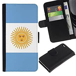 All Phone Most Case / Oferta Especial Cáscara Funda de cuero Monedero Cubierta de proteccion Caso / Wallet Case for Apple Iphone 4 / 4S // Argentina Flag