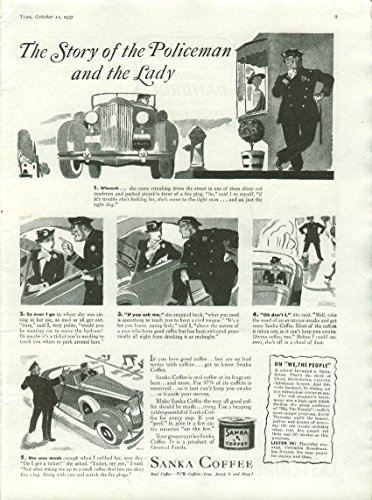 Ladies Roadster (The Story of the Policeman & the Lady Sanka Coffee ad 1937 Packard Roadster)