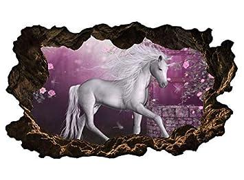 3D Wandtattoo Kinderzimmer Cartoon Einhorn Pferd rosa Wald ...