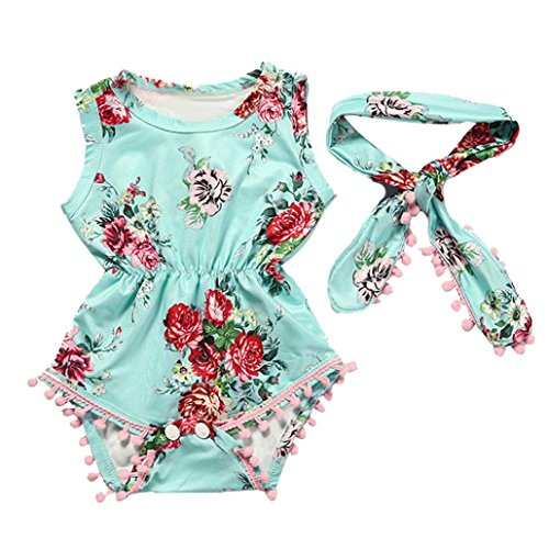 TIFENNY Baby Girls Floral Romper Jumpsuit Sunsuit Clothes Set, (18M, Green)]()