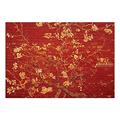 Gold Almond Blossom Painting by Vincent Van Gogh on a Bright Red Brick Wall - Wall Mural, Removable Sticker, Home Decor - 66x96 inches