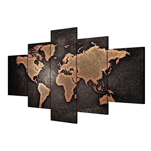 TYXQ Canvas Pictures Modern Wall Art 5 Pieces/Set World Map Study Room Living Room Decorative Wall Paintings (Multi-Size Optional), with Borders, SizeB
