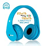 MIDOLA Kids Bluetooth Wireless Headphones Wired On Ear Headset Foldable Earphone with AUX 3.5mm Jack SD Card Slot,Built-in Mic,FM Radio for Students Children for PC Tablets Cellphone(Blue)