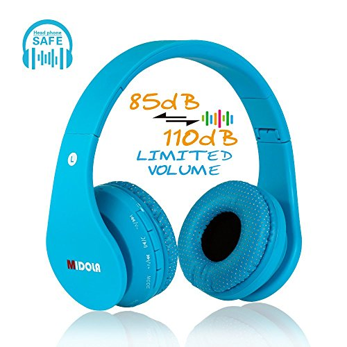 MIDOLA Kids Bluetooth Wireless Headphones Wired On-Ear Headset Foldable Earphone with AUX 3.5mm Jack SD Card Slot, Built-in Mic, FM Radio for Toddles Boys Children for PC Tablets Cellphone(Blue) (Best Bluetooth Headphones For Kids)