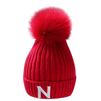 99cb81d1c80 Amazon.com   Inkach Baby Knit Hat Hairball Winter Warm Cap Toddler Kids  Crochet Knitted Beanie Hats Skull Caps (Red)   Garden   Outdoor
