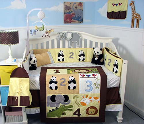 SoHo 1234 Jungle Friends Baby Crib Nursery Bedding Set 13 pcs included Diaper Bag with Changing Pad & Bottle Case by SoHo Designs