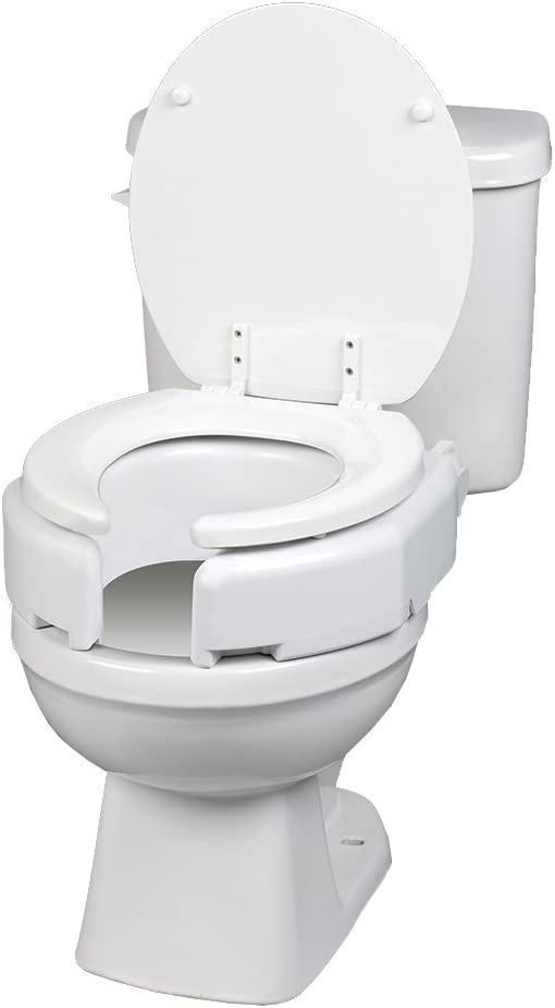 B004MEHF26 Maddak Secure-Bolt Hinged Elevated Toilet Seat, Elongated (725680001) 51CNu2ciGQL
