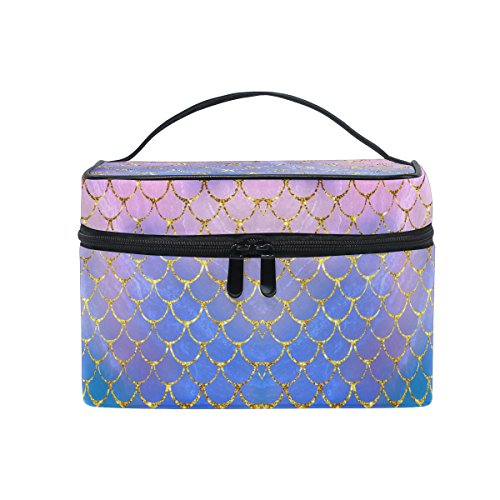 - ZOEO Makeup Train Case Purple Mermaid Scales Marble Fish Light Summer Gold Korean Carrying Portable Zip Travel Cosmetic Brush Bag Organizer Large for Girls Women