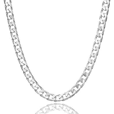 8bfd5372e9f9 Collar cadena pulsera tobillera Tipo Barbada Panzer corte de diamante de  fina plata de ley 925 5mm Bisutería Italiano Mujer Hombre - 15 20 25 30 35  40 45 50 ...