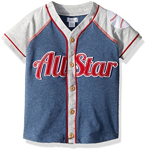 Mud Pie Baby Boys Baseball All Star Short Sleeve Button Down Shirt, Blue, LG/ ()