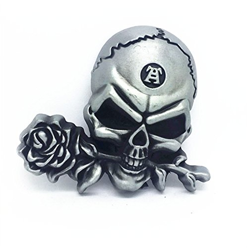 KeCol Mens Skull & Rose Devil Demon Skeleton Punk Belt Buckle Silver Demon Skeleton
