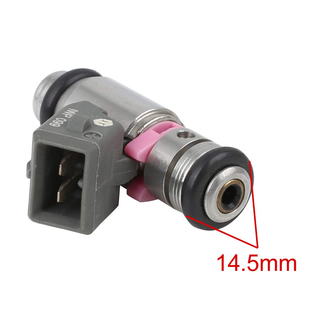 Sourcingmap DC 12V 2 Pin 2 Holes Sliver Tone Petrol Fuel Injector IWP099