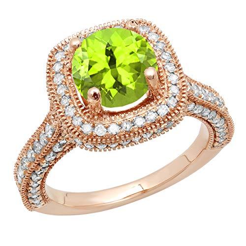 Dazzlingrock Collection 10K 7.5 MM Round Peridot & White Diamond Ladies Halo Engagement Ring, Rose Gold, Size 10