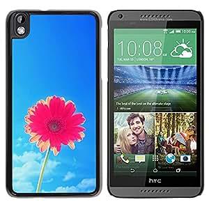 YOYOYO Smartphone Protección Defender Duro Negro Funda Imagen Diseño Carcasa Tapa Case Skin Cover Para HTC DESIRE 816 - cielo rosado de la flor del sol del verano azul bastante