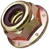 Steel Flange Nut, Zinc Yellow-Chromate Plated Finish, Grade 8, Self-Locking Nylon Insert, Right Hand Threads (Pack of 50)