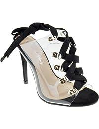 Gemma 02 Womens Clear Stiletto Heel Lace Ups Lucite Sandals Black
