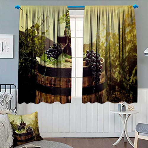 Chaneyhouse Wine Patterned Drape for Glass Door Scenic Tuscany Landscape with Barrel Couple of Glasses and Ripe Grapes Growth Waterproof Window Curtain 55