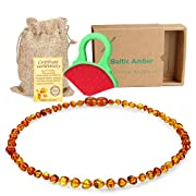 Raw Baltic Baby Amber Teething Necklace - (Cognac) Anti-Flammatory, Drooling & Free Teething Toy Pain Reduce - Reduces Tension and Fear, Teething Necklace for 6 to 48 Months Babies,Boys and Girls