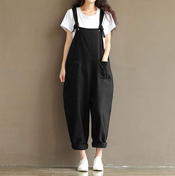 564ff7614dd Lncropo Women Large Plus Size Baggy Linen Overalls Casual Wide Leg Pants  Sleeveless Rompers Jumpsuit Vintage. Back. Double-tap to zoom