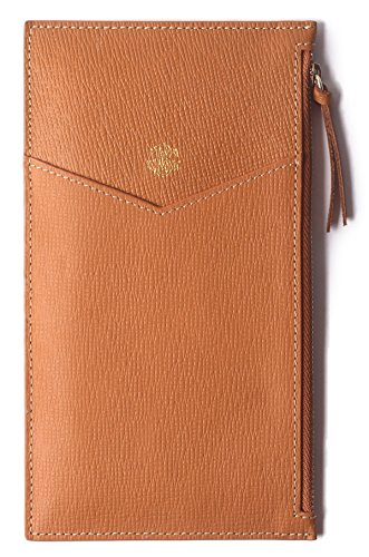 Borgasets Ultra-Thin Women's Wallet RFID Blocking Leather Credit Card Holder Zipper Purse for Phone Brown by Borgasets (Image #1)