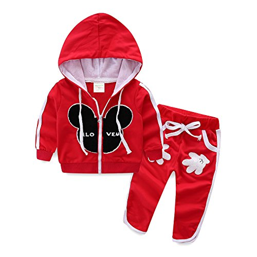 Mud Kingdom Cute Toddler Boy Outfits Cartoon Zip Up Hoodies and Pants Red 2T