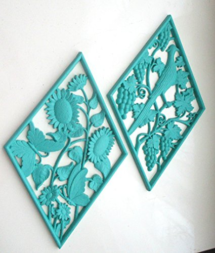 - SYROCO Wall Plaques, Vintage Wall Decor, Flora and Fauna, Teal Green, Shabby Chic, Beach Decor, Nursery room, Playroom, Children's Room, Cottage, Wall Accents Wa