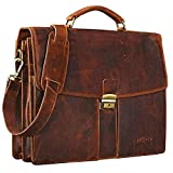 STILORD'Julian' Vintage Leather Briefcase Portfolio Men 15,6 inches Shoulder Bag Classic Vintage Business Satchel Work Bag, Colour:Kara - Cognac