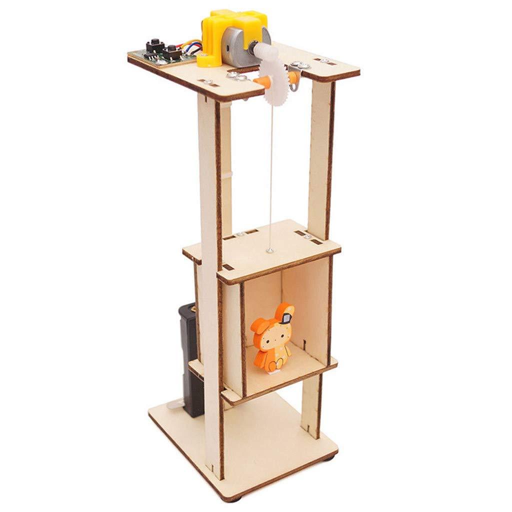 Pausseo Children DIY Wood Assemble Electric Lift Toys Kids Science  Laboratory Experiment
