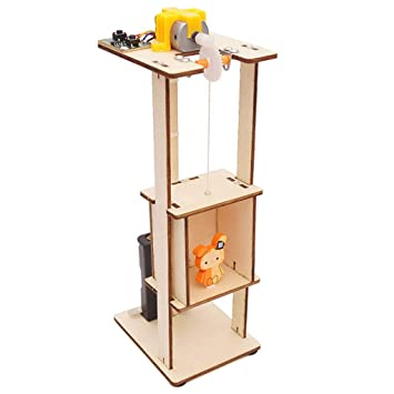 Pausseo Children DIY Wood Assemble Electric Lift Toys Kids Science  Laboratory Experiment