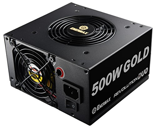 Enermax Black Atx Computer Case - Enermax Revolution DUO 500W DUOFlow design 80+ Gold Certified Power Supply Ideal for PSU Shrouds and Patented FMA (Fan-speed Manual Adjustment) Technology, Black ERD500AWL-F