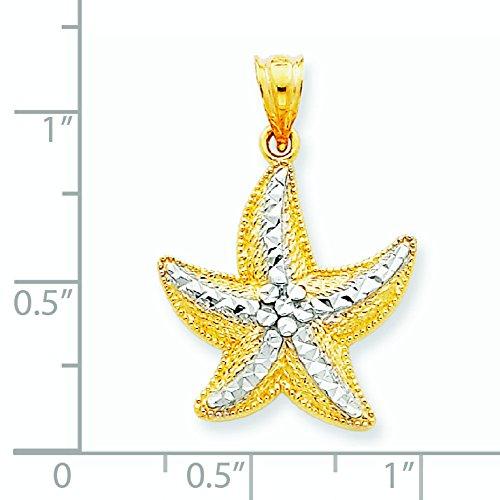 Or 14carats et rhodium Diamant Pendentif étoile de mer