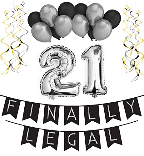 21st Birthday Party Pack – Black & Silver Happy Birthday Bunting, Poms, and Swirls Pack- Birthday Decorations - 21st Birthday Party (Spongebob Activity Kit)