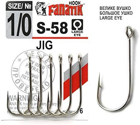 FANATIK Haken JIG S-58 gr. 5/0, 4/0, 3/0, 2/0, 1/0 jig Angel Fishing Hook für Gummiköder