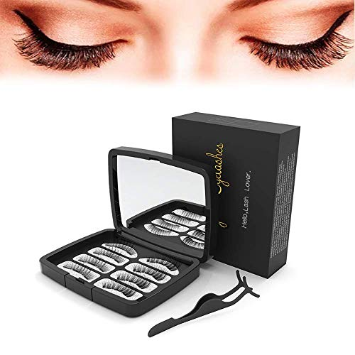 Magnetic False Eyelashes 3 Magnets Full Eyes Dual Magnets,Ultra Thin Reusable Fiber Dual Magnetic Eyelashes with Mirror and Stainless Steel Tweezers 8PCS(2Pairs)