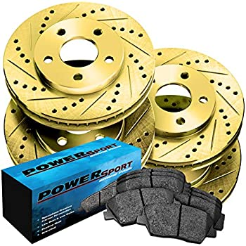 MX-6 Front Gold Slotted Brake Rotors+Ceramic Pads 626 Fit Ford Mazda Probe