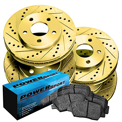 Fit Subaru Legacy Front Rear Gold Drill Slot Brake Rotors+Ceramic Brake Pads